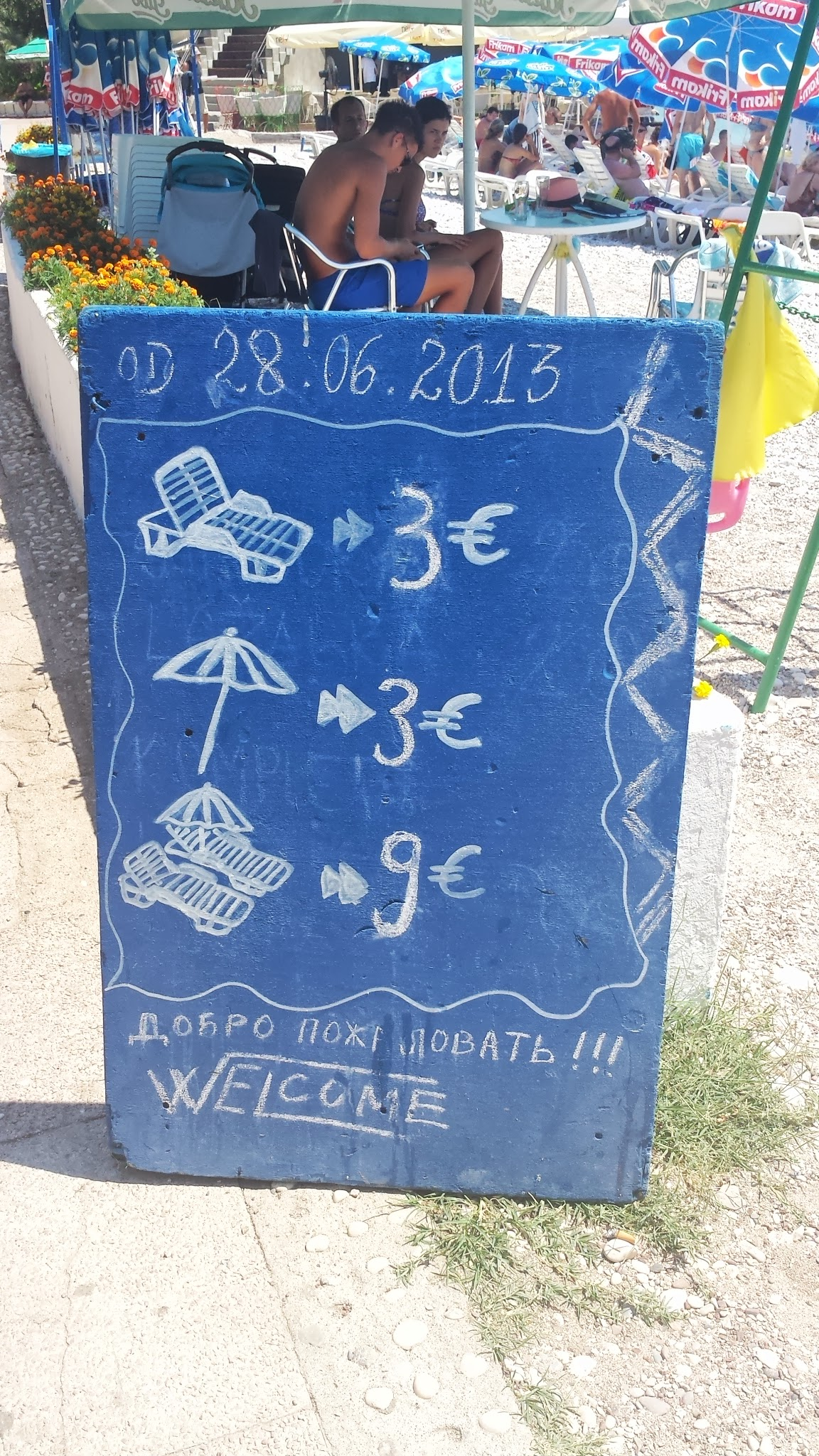 Budva Beach Sign