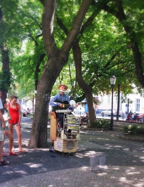 Bratislava street musician playing The Beatles