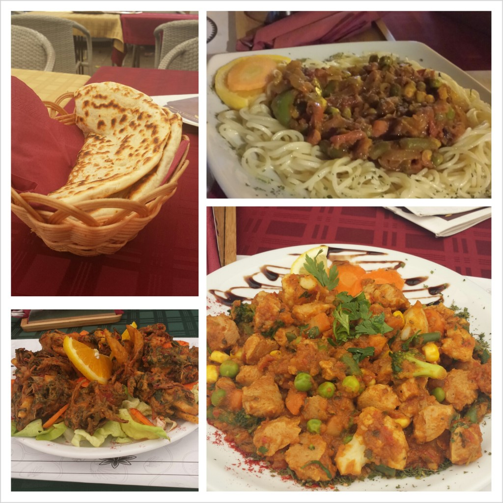 A sampling of what I ate. Upper left: potato naan. upper right: Indian-style spaghetti. Lower left: Pakora. Lower right: Indian-style soy nuggets.