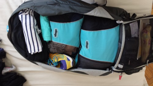 Everything fits nice and snug with travel cubes