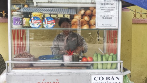 This lady's cart in Nha Trang had THE BEST vegan banh mi's for only 50 cents.